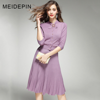 2018 New Arrival Fashion Women Knitting Twin Set Bow Blouse Slim Skirt Elastic Waist Black Purple