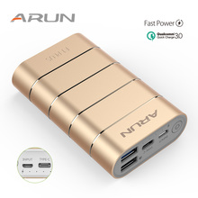 ARUN 7500 mAh Power Bank QC3.0 Intelligent Type-c External Battery 2 USB Portable Mobile Charger For Xiaomi iPhone X Huawei