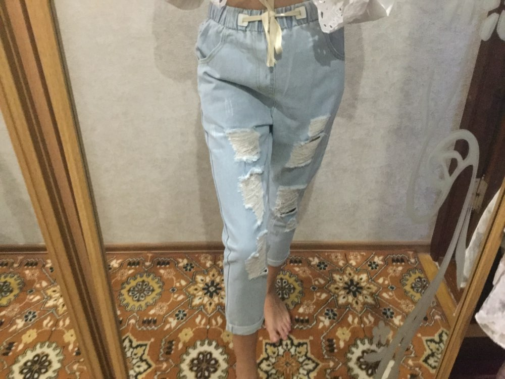 Women Summer Pants Casual Trousers For Ladies Blue Ripped Mid Waist Drawstring Skinny Denim Calf Length Jeans photo review