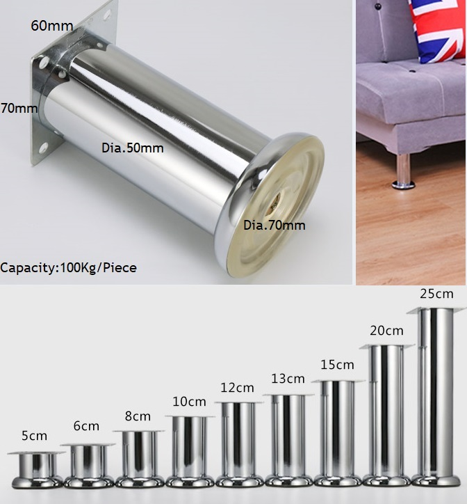 4Pcs/Lot Heavy Duty Shiny Round Chrome Furniture Bath Coffee Bar Sofa Chair TV Cabinet Leg Legs Feet