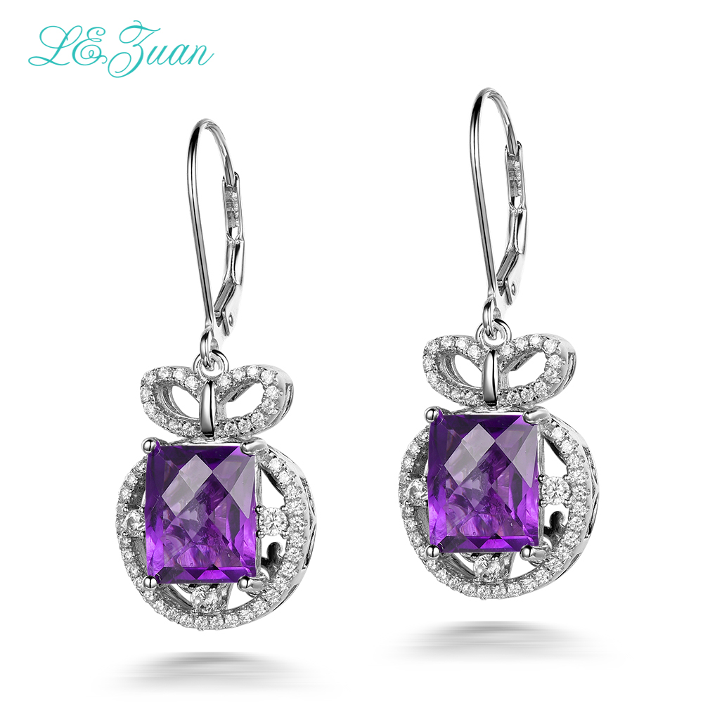 l&zuan 925 Sterling Silver Natural Amethyst Purple Quartz Round Drop Earring Fine Jewelry For Women Wedding Gift Bijoux E0075l&zuan 925 Sterling Silver Natural Amethyst Purple Quartz Round Drop Earring Fine Jewelry For Women Wedding Gift Bijoux E0075