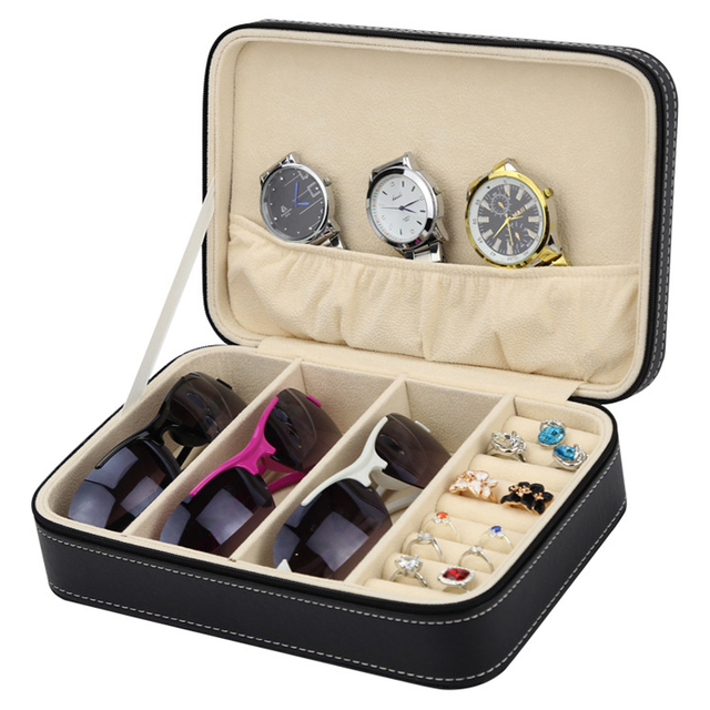 New Leather Multifunction Diy Watch Jewelry Storage Box With Zipper Sungles Case Ring Earring Display Organizer
