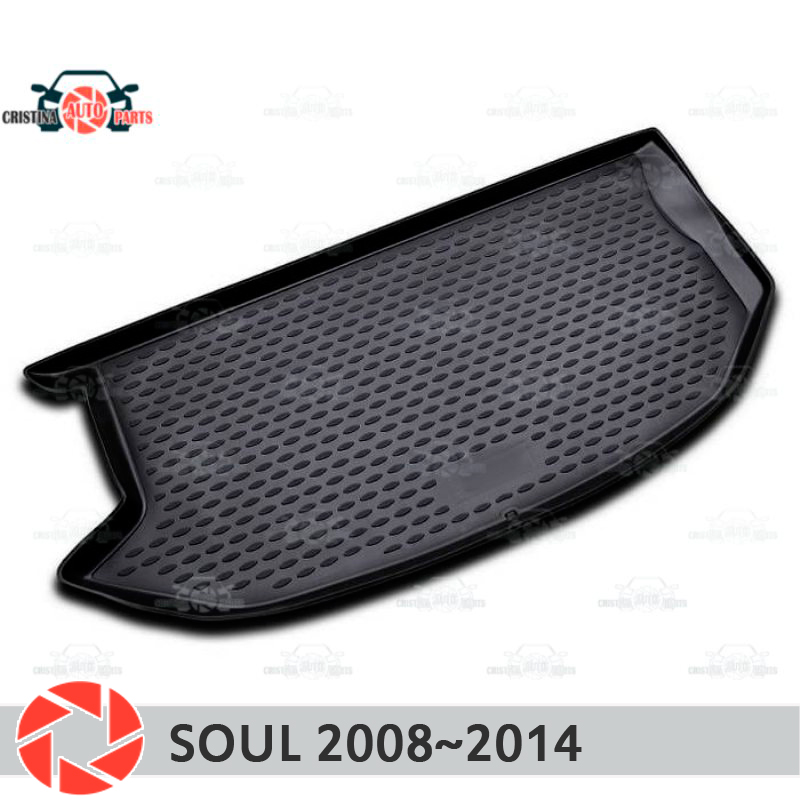 Trunk mat for Kia Soul 2008~2014 trunk floor rugs non slip polyurethane dirt protection interior trunk car styling special modified car trunk cover material curtain separated block for kia soul