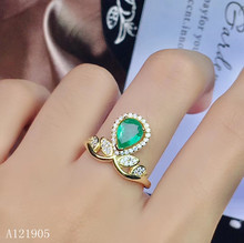 цена KJJEAXCMY boutique jewelry 925 sterling silver inlaid natural emerald women's models are 18K gold ring support detection онлайн в 2017 году
