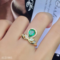 KJJEAXCMY boutique jewelry 925 sterling silver inlaid natural emerald women's models are 18K gold ring support detection
