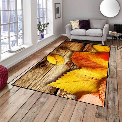 Else Brown Wood Yellow Red Dried Leaf Nature 3d Print Non Slip Microfiber Living Room Decorative Modern Washable Area Rug Mat