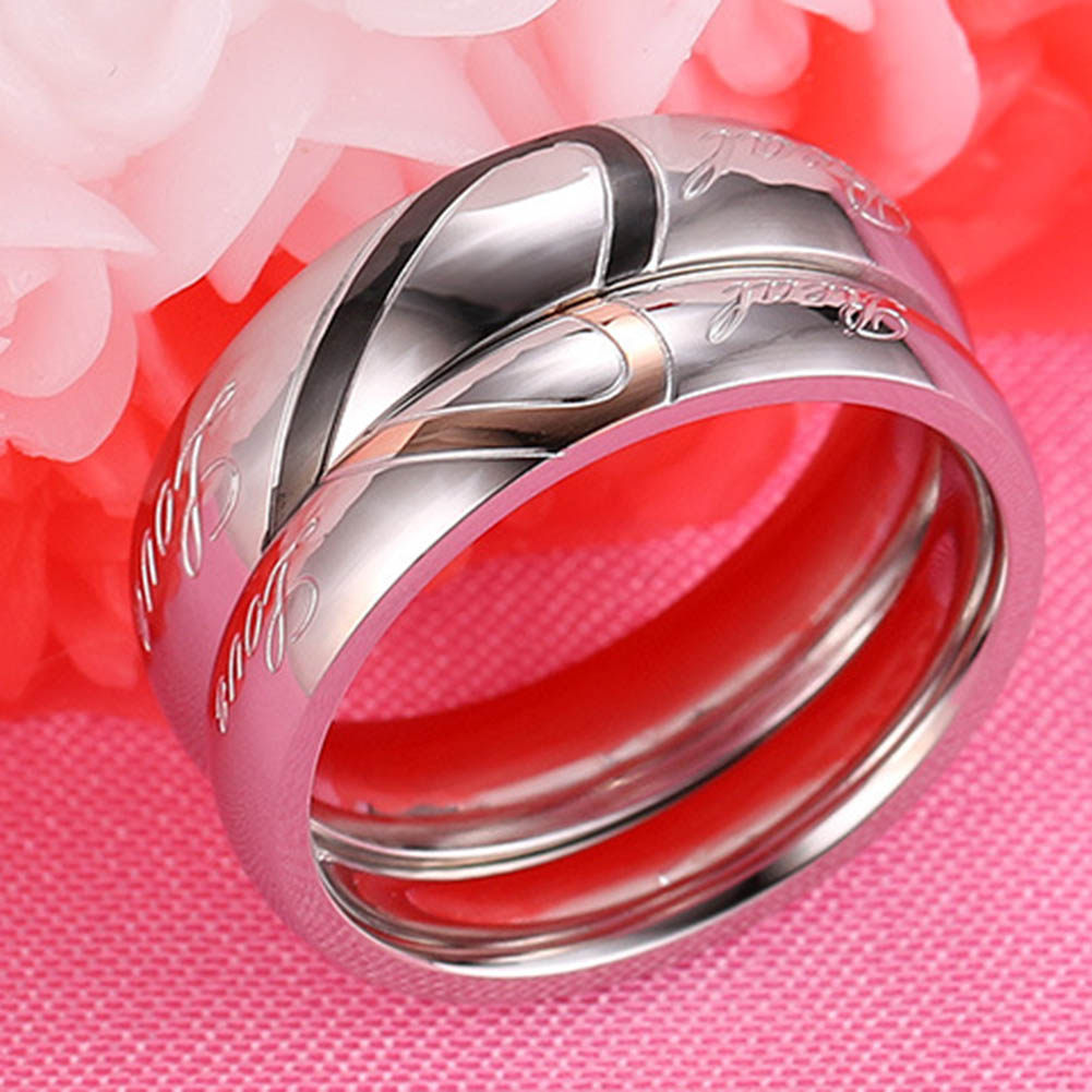 New Design Valentines Titanium Steel Heart-shaped Love Rings Hold Hands Couple Rings Fine Jewelry For Male