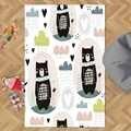 다른 검은 곰 옐로우 핑크 블루 동물 하트 3d 인쇄 미끄럼 마이크로 화이버 어린이 키즈 룸 장식 영역 러그 키즈 매트
