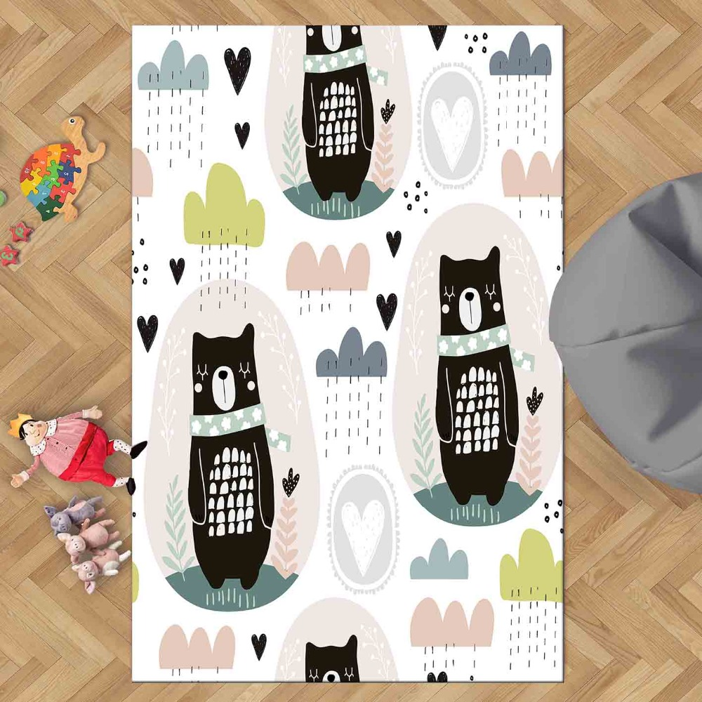 Else Black Bear Yellow Pink Blue Animals Hearts 3d Print Non Slip Microfiber Children Kids Room Decorative Area Rug Kids  Mat