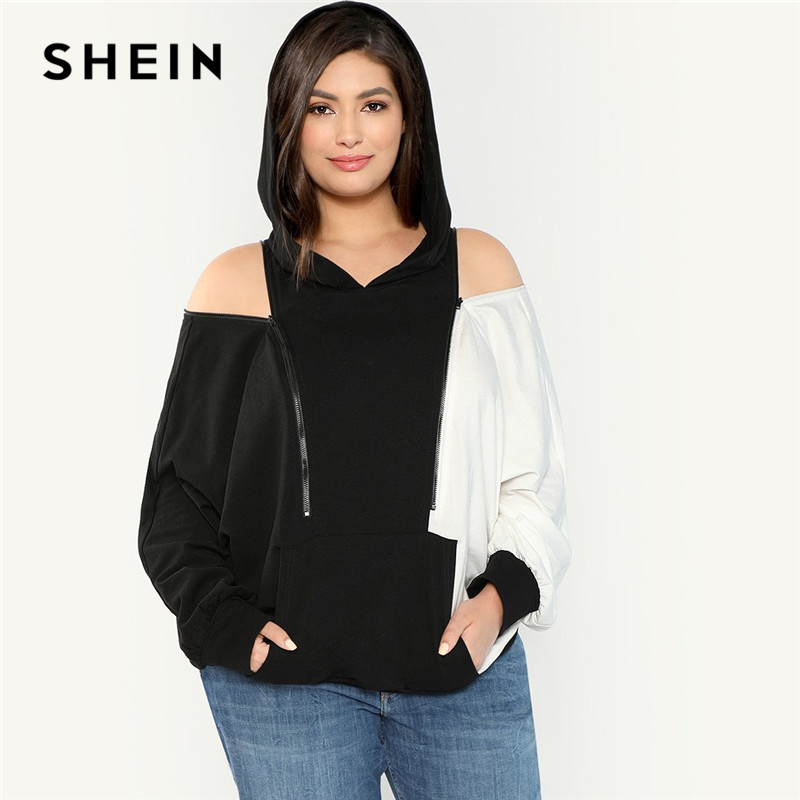 US $36.67 |SHEIN Black And White Colorblock Zip Cold Shoulder Two Tone Plus  Size Women Hooded Sweatshirt Autumn Casual Hoodie Pullovers-in Hoodies & ...
