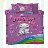 Else 4 Piece Love you Mom Purple Pink Heart Cats Kitten 3D Print Cotton Satin Baby Duvet Cover Bedding Set Pillow Case Bed Sheet