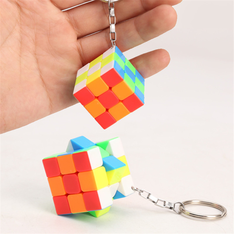 Fidget Cube 3x3x3 Keychain Decoration Puzzle Cube PVC Sticker Puzzle Magic Speed Cube Educational Toys for