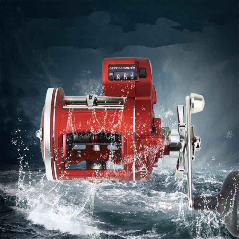 Bobing 12BB троллинг катушка с цифрой глубина счетчик Рыбалка лодка катушка волокна нейлона рамка из нержавеющей Материал снасти