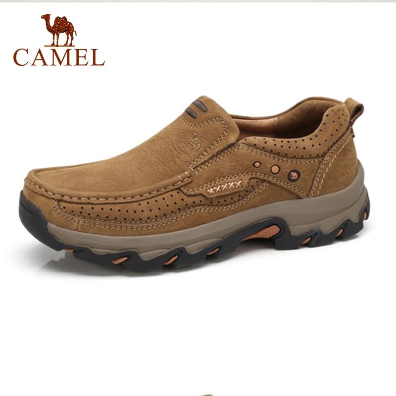 CAMELO Montanha Ao Ar Livre Sapatos Casuais Sapatos de Couro Genuíno dos homens À Prova D' Água dos homens Ferramental Sapato Trabalho Calmante Suave Choque Calçado