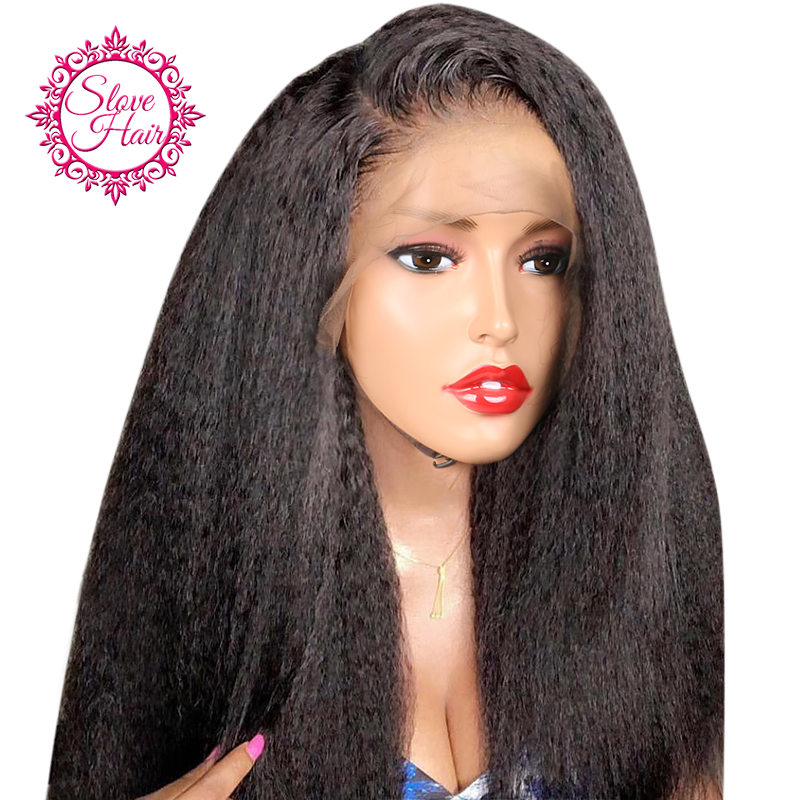 13*4 Kinky Straight Lace Front Human Hair Wigs For Women Black Color Remy Brazilian Lace Wigs Plucked With Baby Hair Slove