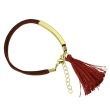 Bracelet style, female bracelet geometric accessories bracelet double simple deerskin tassel bracelet stylish tassel and double ropes embellished bracelet for women