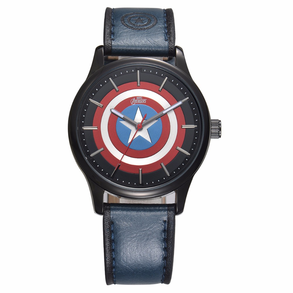 Disney brand NO.MV-82007 students cartoon boys leather quartz watches The Avengers Captain America shield waterproof luminous 100% genuine disney fashion children watches for boys students captain america iron man leather watch strap luxury brand design