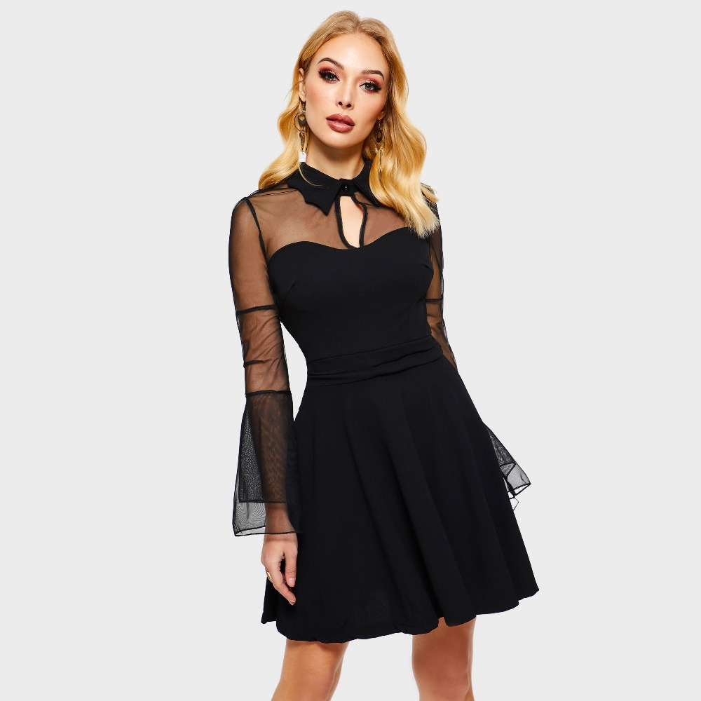325fd21e544 Women Gothic Sexy Mini Dress Autumn Black Mesh Patchwork See-Through Flare  Sleeve Draped Elegant Plus Size Party Short Dresses. 3 2 ...