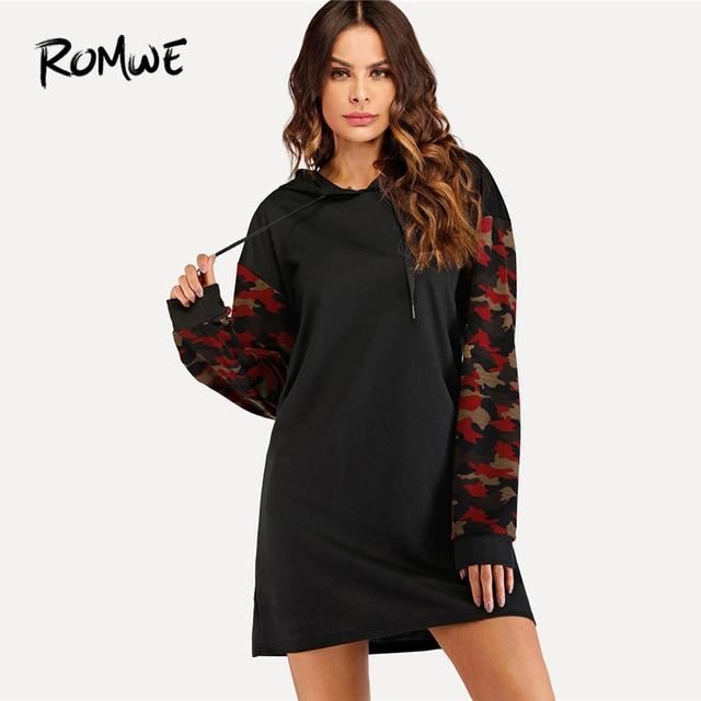44bdd8d7ce5 ROMWE Black Drawstring Hoodie Camouflage Sleeve Sweatshirt Dress Women  Casual Autumn Hooded Long Sleeve Clothing Short