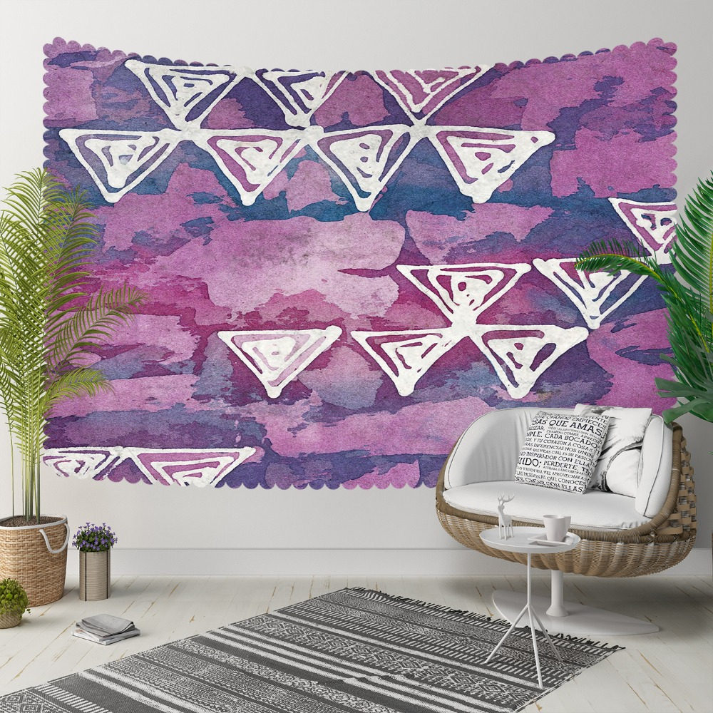 Else Geometric Purple White Triangles Watercolor 3D Print Decorative Hippi Bohemian Wall Hanging Landscape Tapestry Wall Art