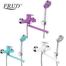 Frud 새로운 욕실 샤워 꼭지 세트 다채로운 욕조 탭 벽 마운트 손 샤워 헤드 robinet r22301/r22302/r22303