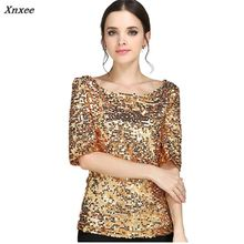S-5XL Women Sequined T shirt European Summer Hot Sale Half Sleeve T-shirts Clothes Casual Solid Slash neck Tops 62628 Xnxee