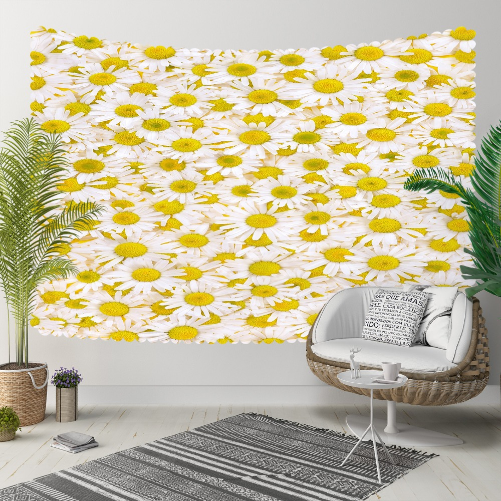 Else Yellow White Daisy Flowers Floral Nature 3D Print Decorative Hippi Bohemian Wall Hanging Landscape Tapestry Wall Art
