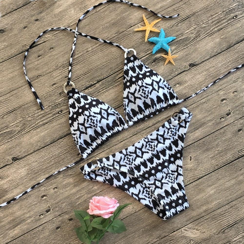Женский комплект бикини из 2 предметов, женский купальный костюм из двух частей, черно-белая волновая печать