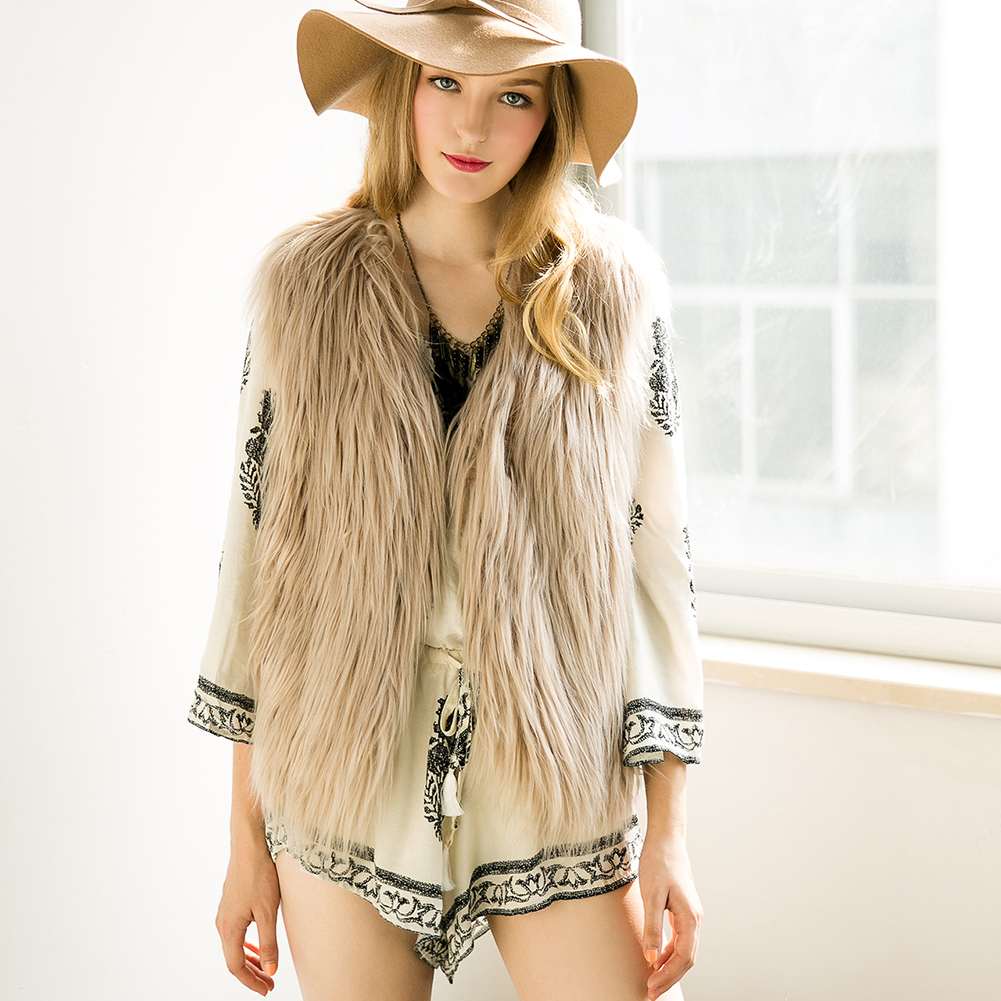 Winter font b Women b font Ladies Luxury Furry Faux Fur Vest Sleeveless font b Jacket