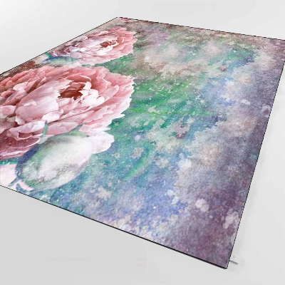 Else Pink Roses Green Blue Gray Watercolor 3d Print Non Slip Microfiber Living Room Decorative Modern Washable Area Rug Mat