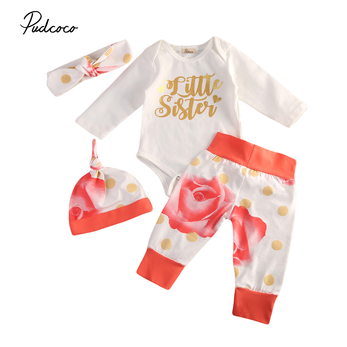 4Pcs Newborn Baby Girls Clothing Sets Toddler Flower Romper Long Pants Legging Hat Outfits Set