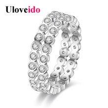 Uloveido Engagement Ring Female Silver Color Wedding Band Designer Fashion Women Rings Bague Anel Jewellery Sieraden PJ4286
