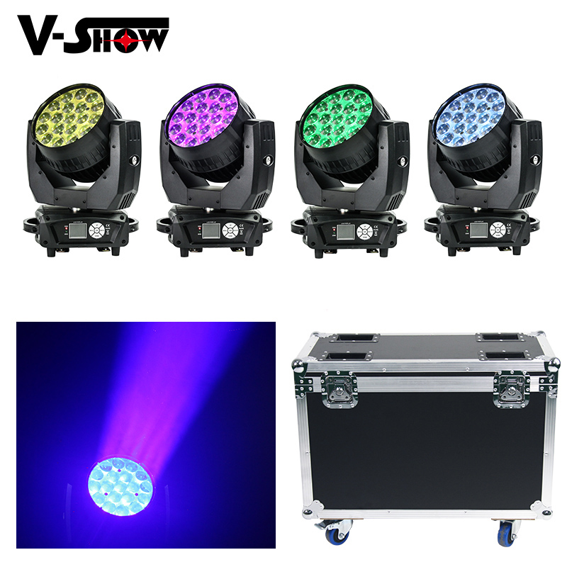 4pcs With Flight Case AURA 19x15W RGBW Led Moving Head Light Beam Wash With Zoom Backlight