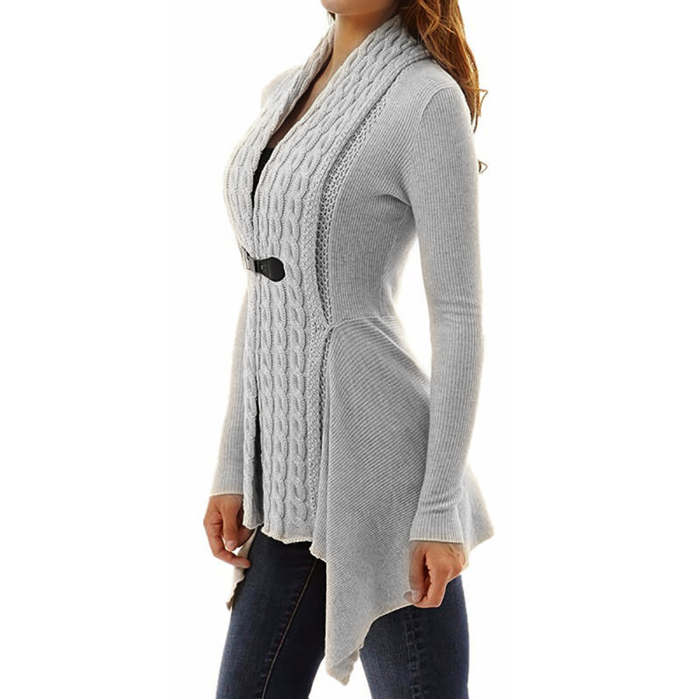 Fashion Women Solid Color Slim Cardigan Long Knitted Sweater