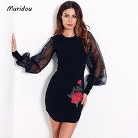 Muridou Autumn Embroidery Bodycon Dress Women Mesh Puff Sleeve Ruffles Flower Sheath Bodycon Mini Dress Female