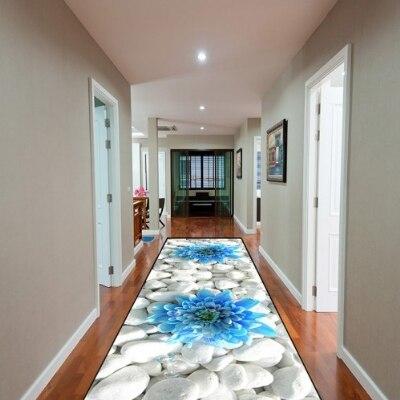 Autres pierres de galets blancs sur fleurs bleues impression 3d antidérapant microfibre lavable tapis de sol tapis tapis de couloir