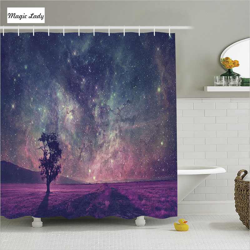 Shower Curtain Tree Bathroom Accessories Galaxy Lonely