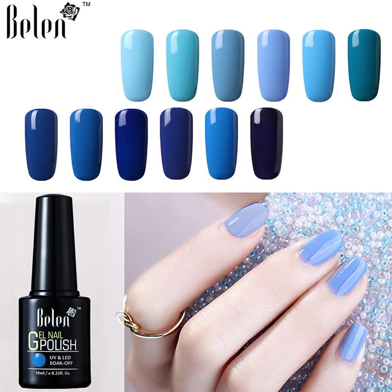 Belen 10ML Blue Color Nail Polish Long Lasting Enamel Semi Permanent Base Top Paint Gellak Hybrid Sale Varnish Lucky Lacquer