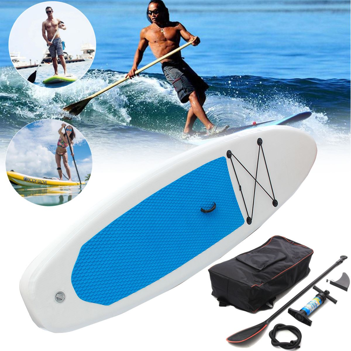 Gofun 122x27x4 Pouces Stand Up Paddle Planche De Surf Gonflable Conseil SUP Ensemble Wave Rider + Pompe gonflable planche de surf paddle bateau