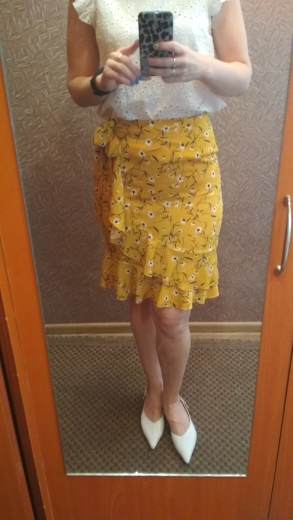Yellow Ditsy Floral Ruffle Hem Knot Wrap Girly Boho Mini Skirt Women Summer Red Beach Holiday Wear Female Skirts photo review