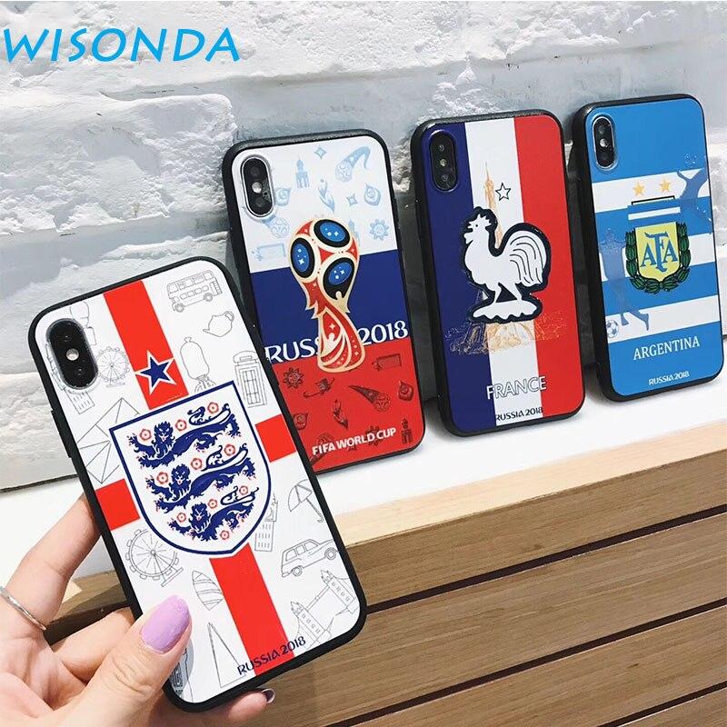 WISONDA Doux TPU Cas Pour iPhone X Coupe Du Monde Cas de Téléphone Pour iPhone 6 s 7 8 Plus Football équipe couverture arrière De Luxe Cas
