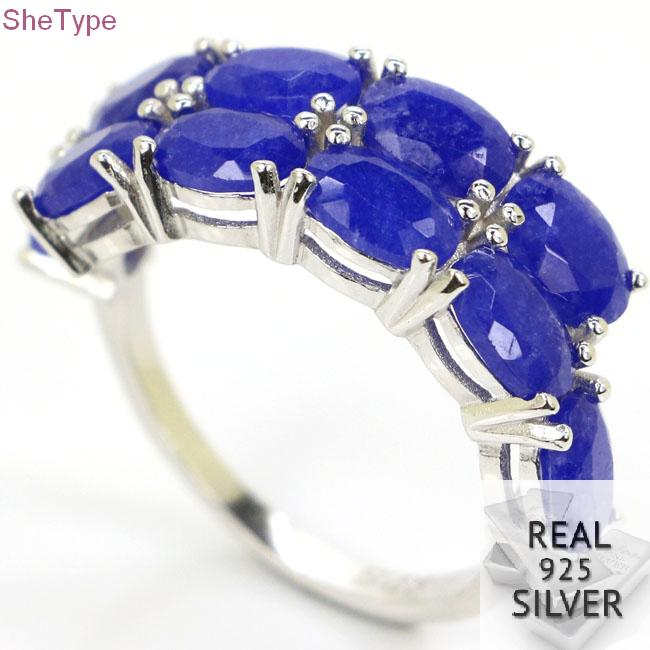 SheType 3 0g Real Blue Sapphire Gift For Ladies Real 925 Solid Sterling Silver Ring 26x8mm in Rings from Jewelry Accessories