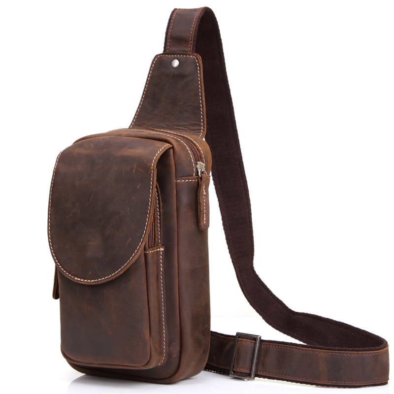 High Quality Men Shoulder Messenger Bag Crazy Horse Leather Chest Pack Genuine Leather Cross body Vintage Men Zipper Sling Bags