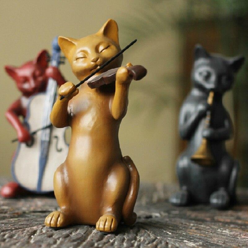 3 고양이 밴드 음악가 수 지 장식품 공예 선물 동상 인형 홈 장식-에서피규어 & 미니어처부터 홈 & 가든 의  그룹 2