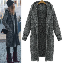 Фотография High Street Women Winter Long Sweater Coat Loose Knit Cardigan Hooded Thickening Coat Trench