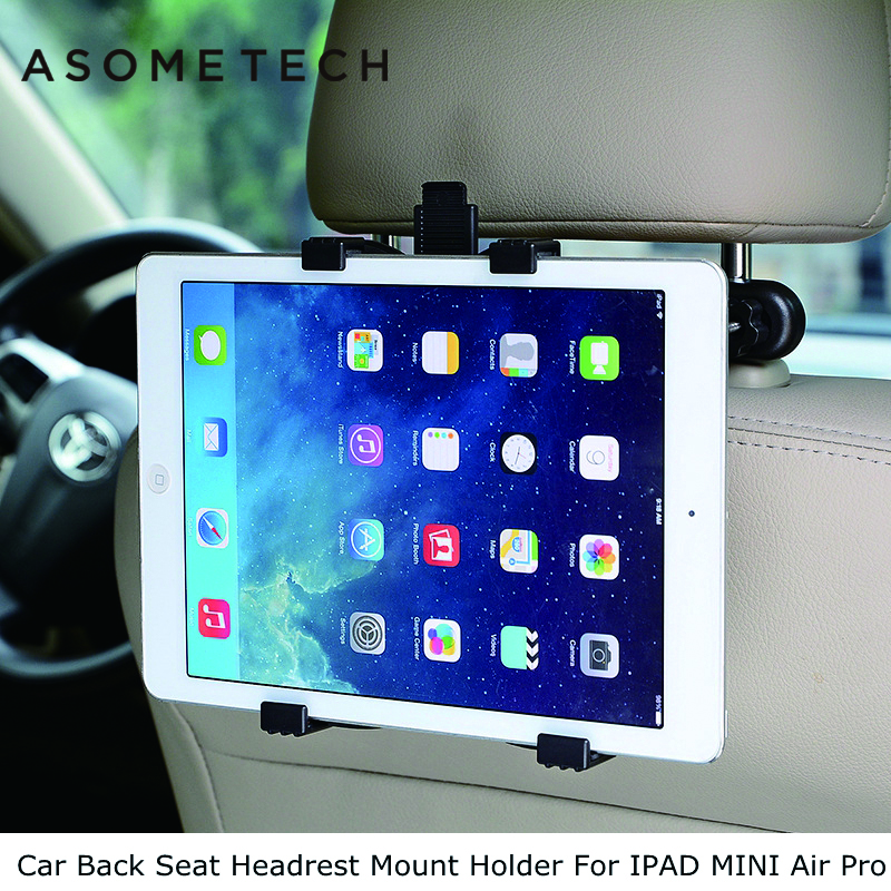 ASOMETECH Car Back Seat Headrest Mount Holder For iPad 2 3/4 Air 1 2 ipad mini 1/2/3/4 SAMSUNG Mipad 2 Tablet PC Stands Bracket lematec universal 360 degree rotation car seat headrest holder mount for ipad 4 mini 3 air 2 for android for samsung galaxy tab
