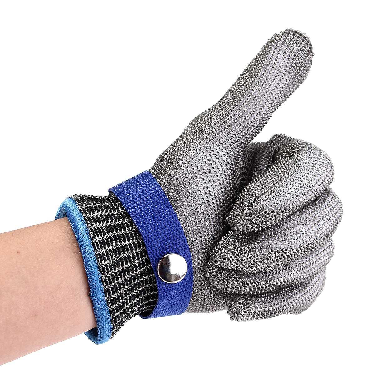 Langlebige Qualität Sicherheit Cut Proof Schützen Handschuh 100% Edelstahl Metall Mesh Butcher Handschuhe Klasse 5 Sicherheit 23x9,5 cm Größe M