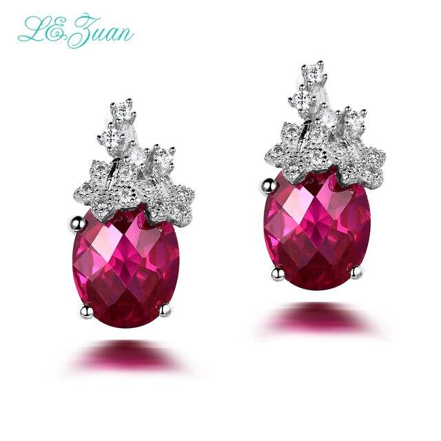 l&zuan 100% 925 Sterling Silver Drop Earrings For Women Red Stone Ruby Jewelry Luxury Earring Fine jewelry Party Brinco E0062