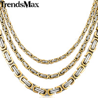 Free Shipping Fashion Jewelry MENS Byzantine 316L Stainless Steel Chain Necklace Gold Tone KN186 5 6