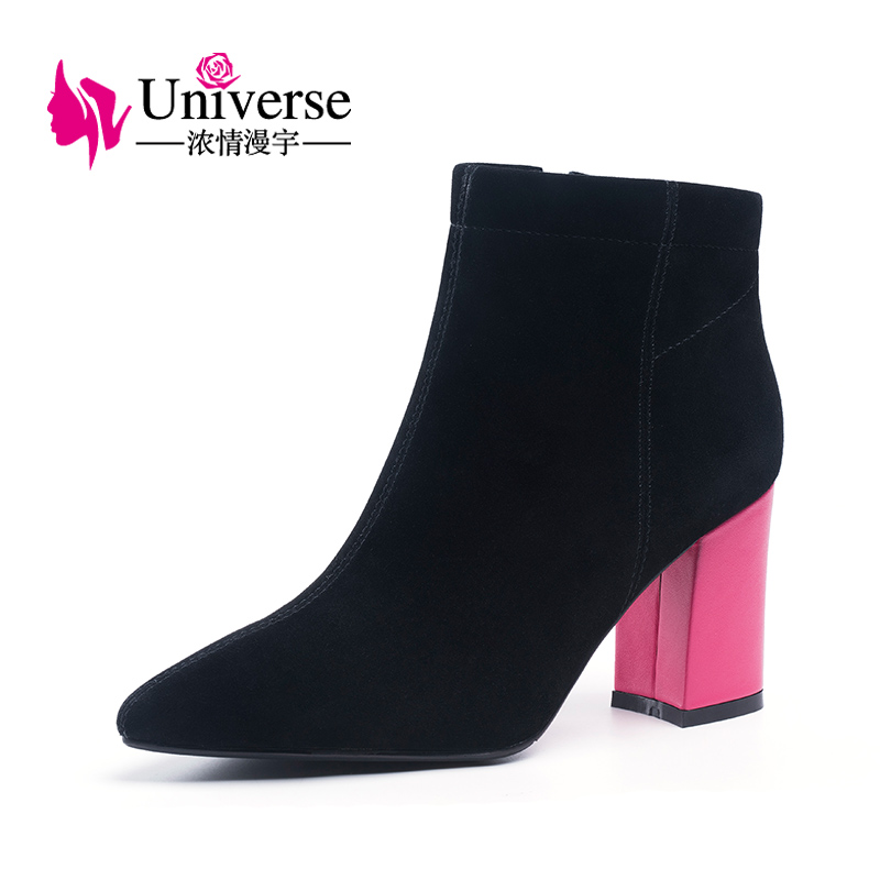 Universe kid suede ankle boots warm plush zipper solid pointed toe super high heels black ladies winter boots women shoes H198Universe kid suede ankle boots warm plush zipper solid pointed toe super high heels black ladies winter boots women shoes H198